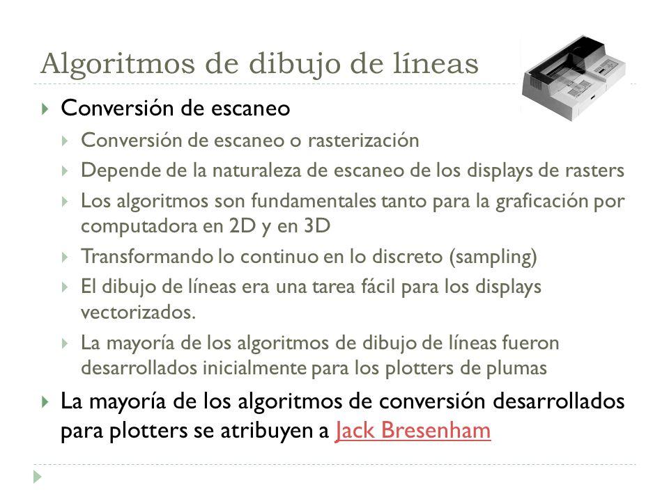 Algoritmos de dibujo de líneas Conversión de escaneo Conversión de escaneo o rasterización Depende de la naturaleza de escaneo de los displays de rast