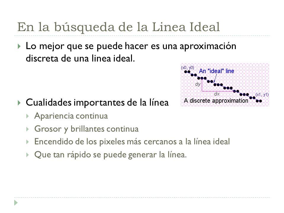 En la búsqueda de la Linea Ideal Lo mejor que se puede hacer es una aproximación discreta de una linea ideal. Cualidades importantes de la línea Apari