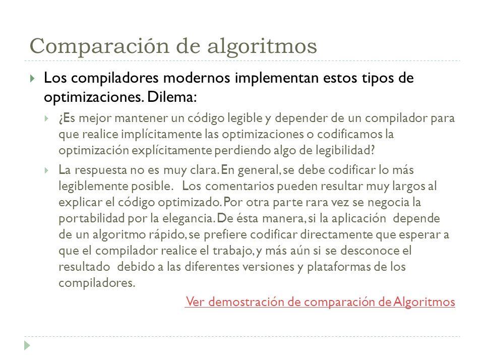 Comparación de algoritmos Los compiladores modernos implementan estos tipos de optimizaciones. Dilema: ¿Es mejor mantener un código legible y depender