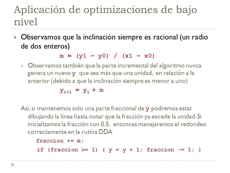 Aplicación de optimizaciones de bajo nivel Observamos que la inclinación siempre es racional (un radio de dos enteros) m = (y1 – y0) / (x1 – x0) Obser