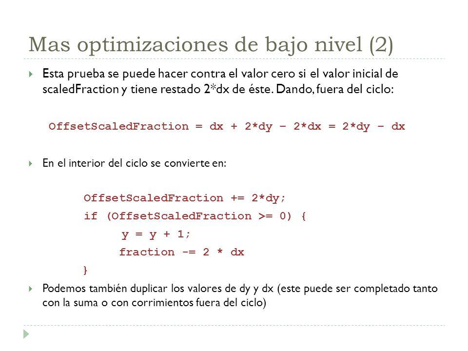 Mas optimizaciones de bajo nivel (2) Esta prueba se puede hacer contra el valor cero si el valor inicial de scaledFraction y tiene restado 2*dx de ést