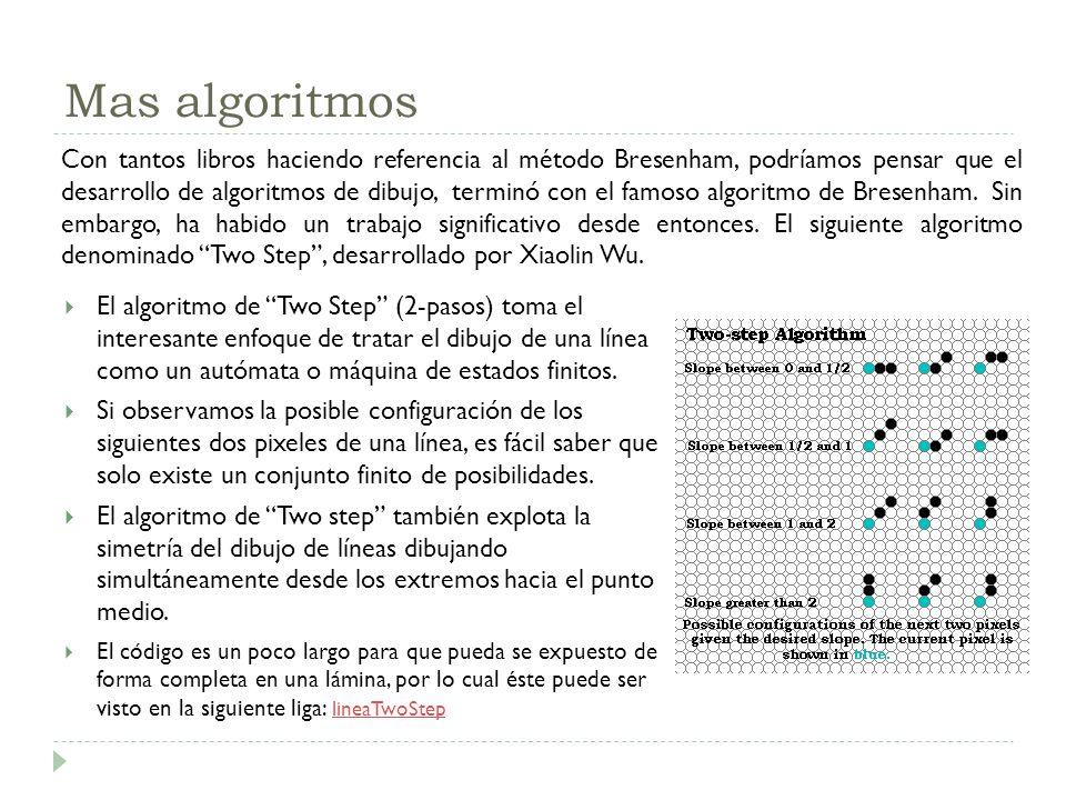 Mas algoritmos El algoritmo de Two Step (2-pasos) toma el interesante enfoque de tratar el dibujo de una línea como un autómata o máquina de estados f