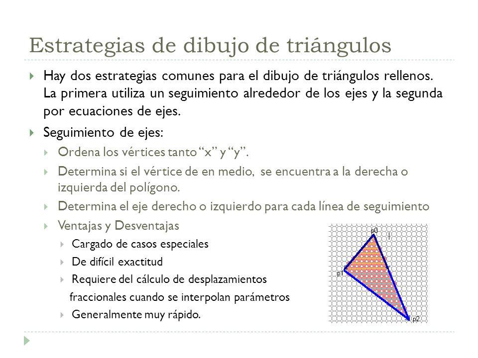 Estrategias de dibujo de triángulos Hay dos estrategias comunes para el dibujo de triángulos rellenos. La primera utiliza un seguimiento alrededor de