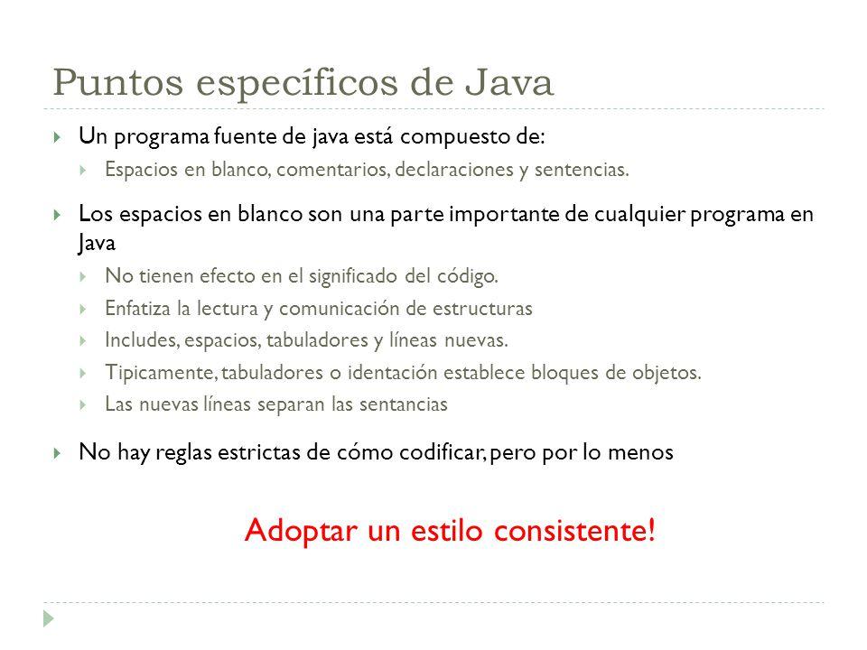 Puntos específicos de Java Un programa fuente de java está compuesto de: Espacios en blanco, comentarios, declaraciones y sentencias. Los espacios en