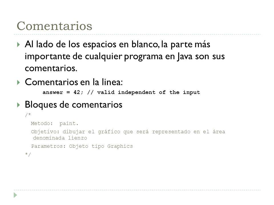 Comentarios Al lado de los espacios en blanco, la parte más importante de cualquier programa en Java son sus comentarios. Comentarios en la linea: ans