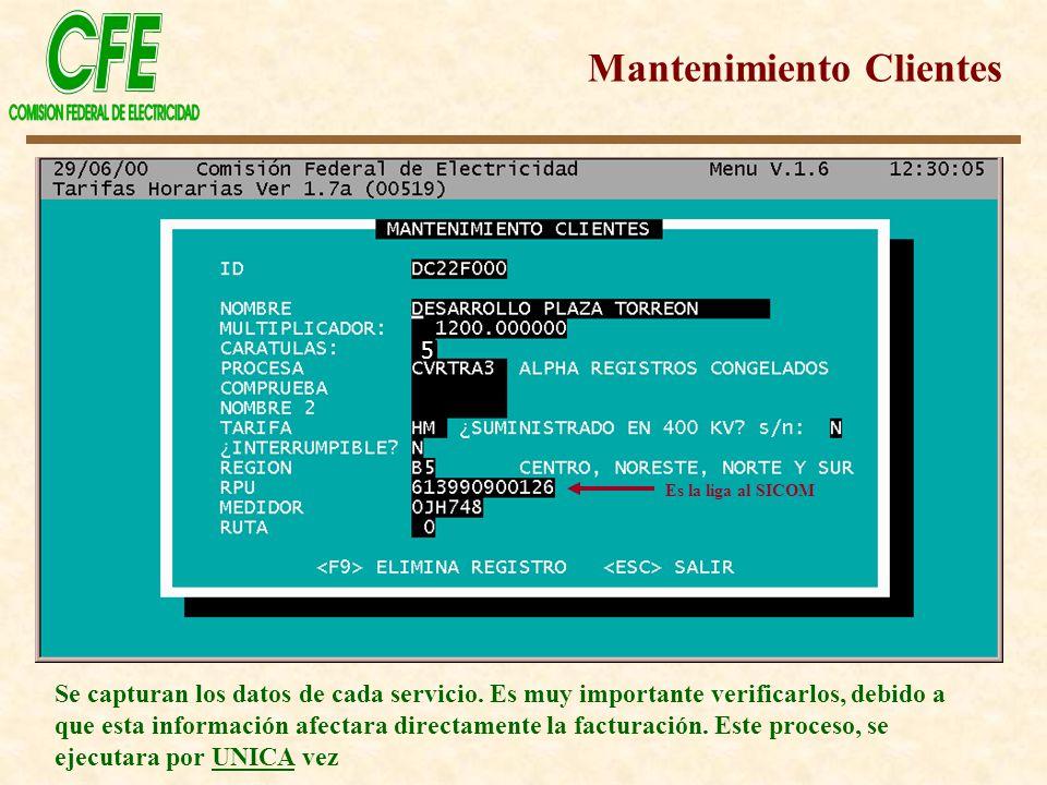 Mantenimiento Clientes Se capturan los datos de cada servicio. Es muy importante verificarlos, debido a que esta información afectara directamente la