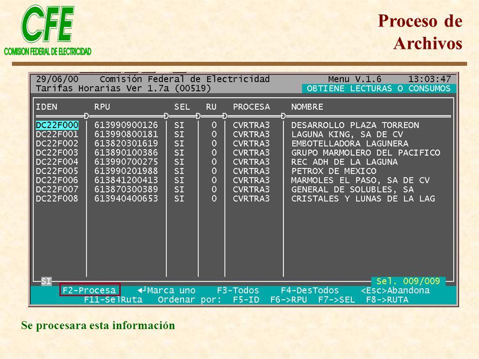 Se procesara esta información Proceso de Archivos
