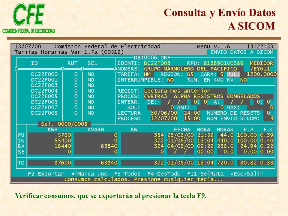 Verificar consumos, que se exportarán al presionar la tecla F9. Consulta y Envío Datos A SICOM