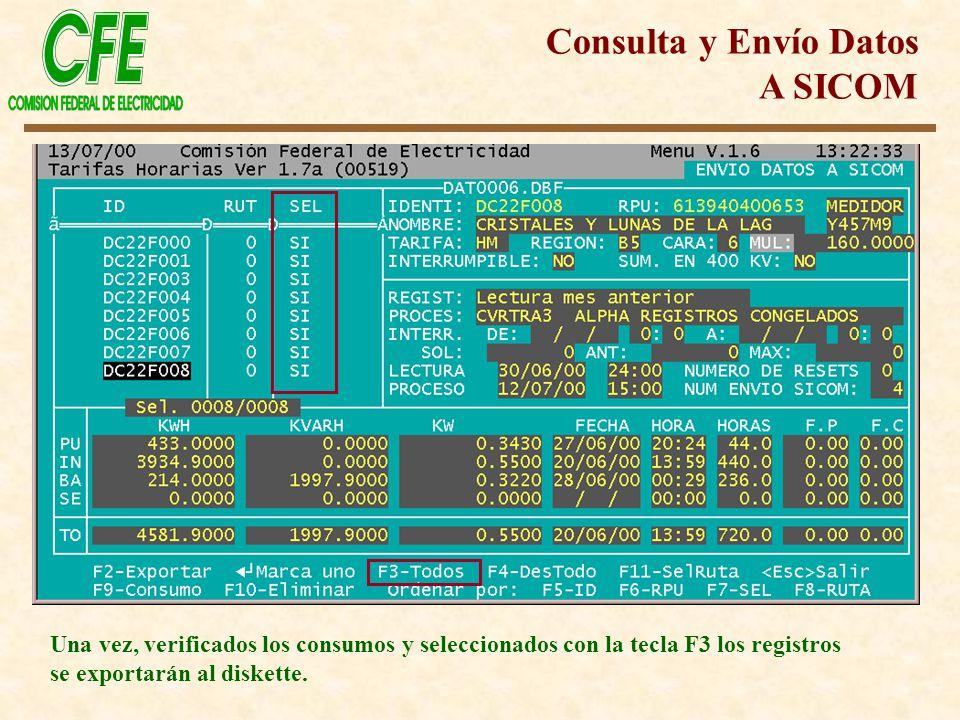 Una vez, verificados los consumos y seleccionados con la tecla F3 los registros se exportarán al diskette.