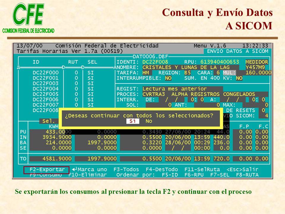 Consulta y Envío Datos A SICOM Se exportarán los consumos al presionar la tecla F2 y continuar con el proceso