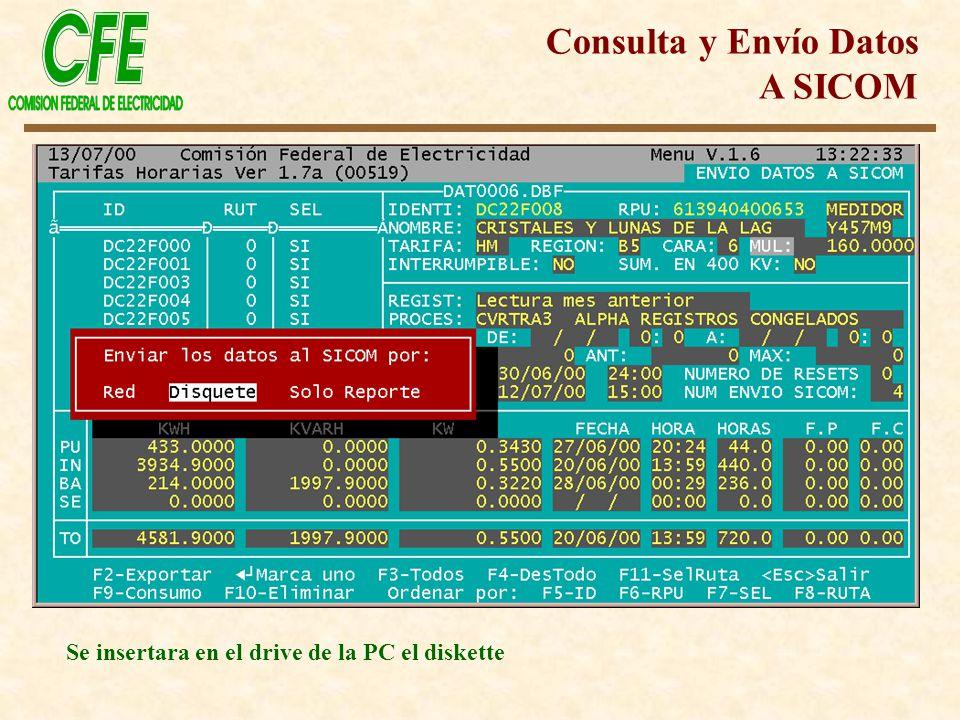 Se insertara en el drive de la PC el diskette Consulta y Envío Datos A SICOM