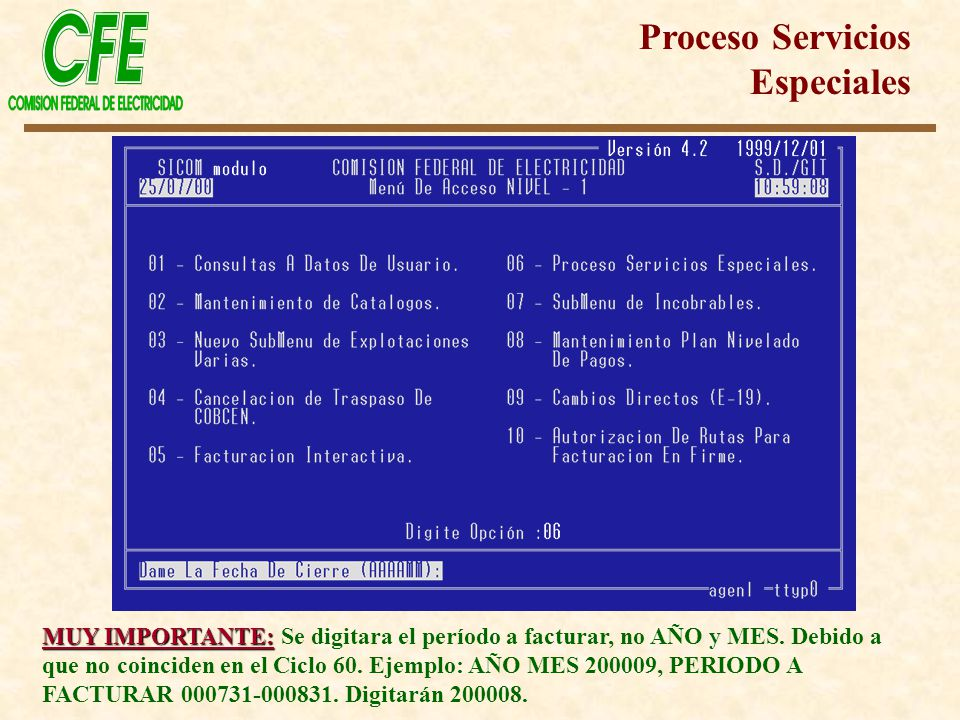 Proceso Servicios Especiales MUY IMPORTANTE: MUY IMPORTANTE: Se digitara el período a facturar, no AÑO y MES. Debido a que no coinciden en el Ciclo 60
