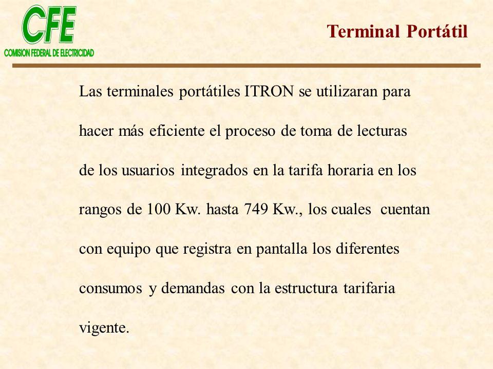 Las terminales portátiles ITRON se utilizaran para hacer más eficiente el proceso de toma de lecturas de los usuarios integrados en la tarifa horaria