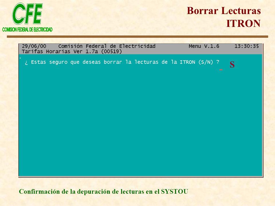 Borrar Lecturas ITRON Confirmación de la depuración de lecturas en el SYSTOU S