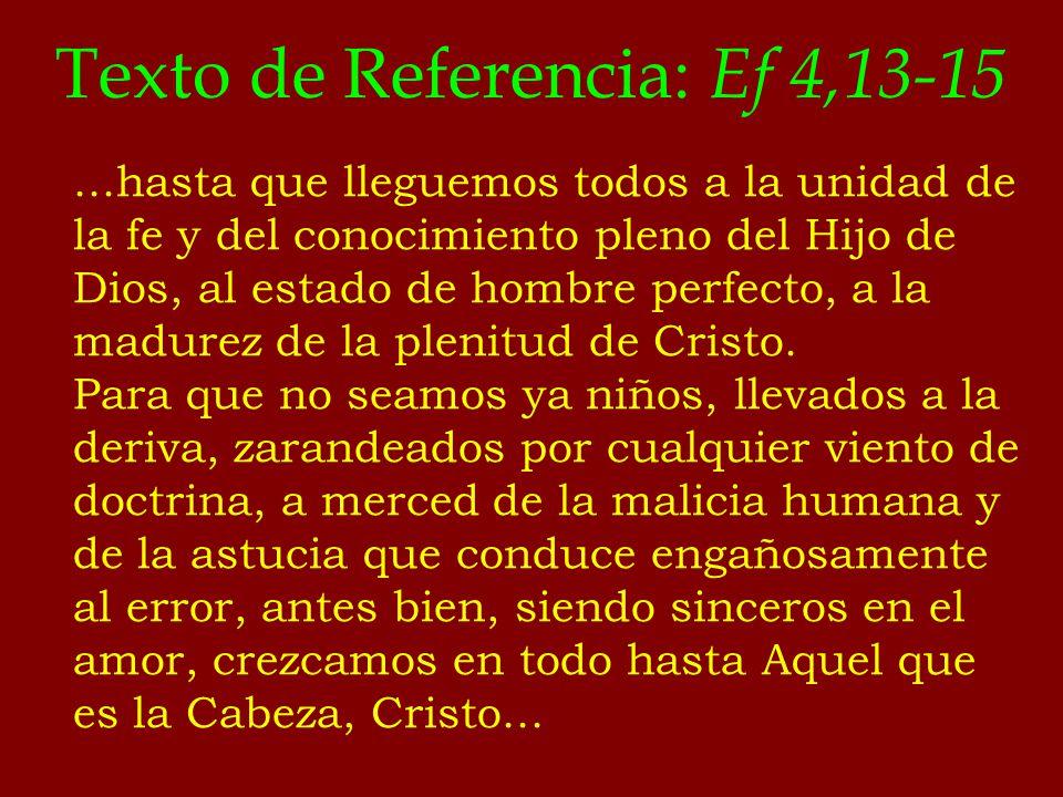 Texto de Referencia: Ef 4,13-15...hasta que lleguemos todos a la unidad de la fe y del conocimiento pleno del Hijo de Dios, al estado de hombre perfec