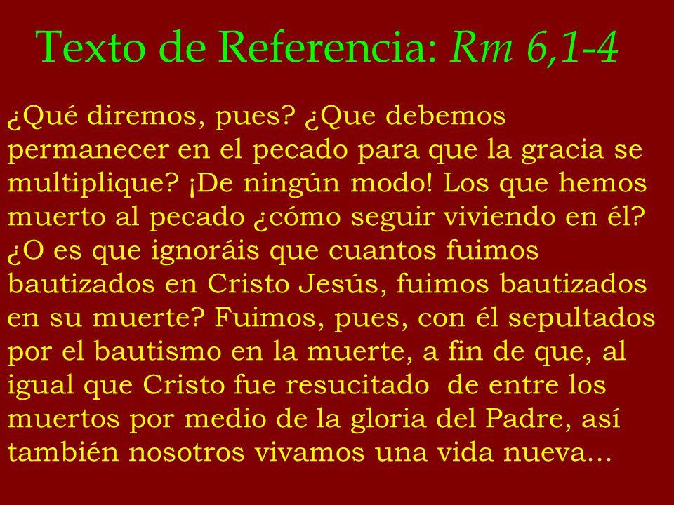 Texto de Referencia: Rm 6,1-4 ¿Qué diremos, pues? ¿Que debemos permanecer en el pecado para que la gracia se multiplique? ¡De ningún modo! Los que hem