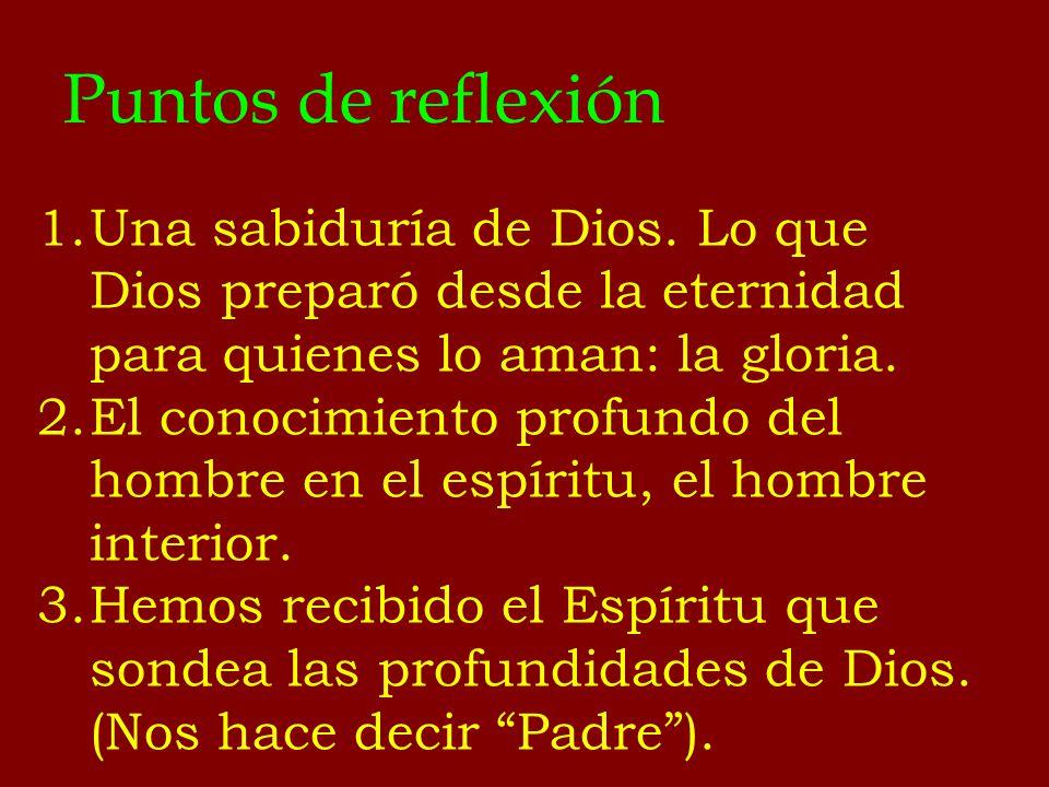 Puntos de reflexión 1.Una sabiduría de Dios. Lo que Dios preparó desde la eternidad para quienes lo aman: la gloria. 2.El conocimiento profundo del ho