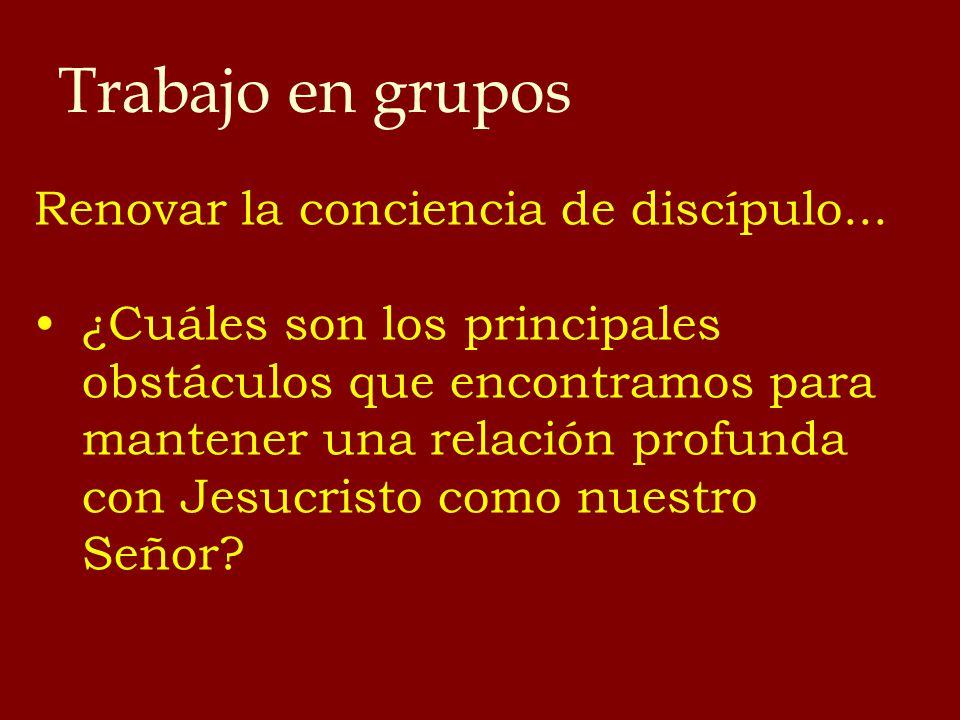 Trabajo en grupos Renovar la conciencia de discípulo... ¿Cuáles son los principales obstáculos que encontramos para mantener una relación profunda con