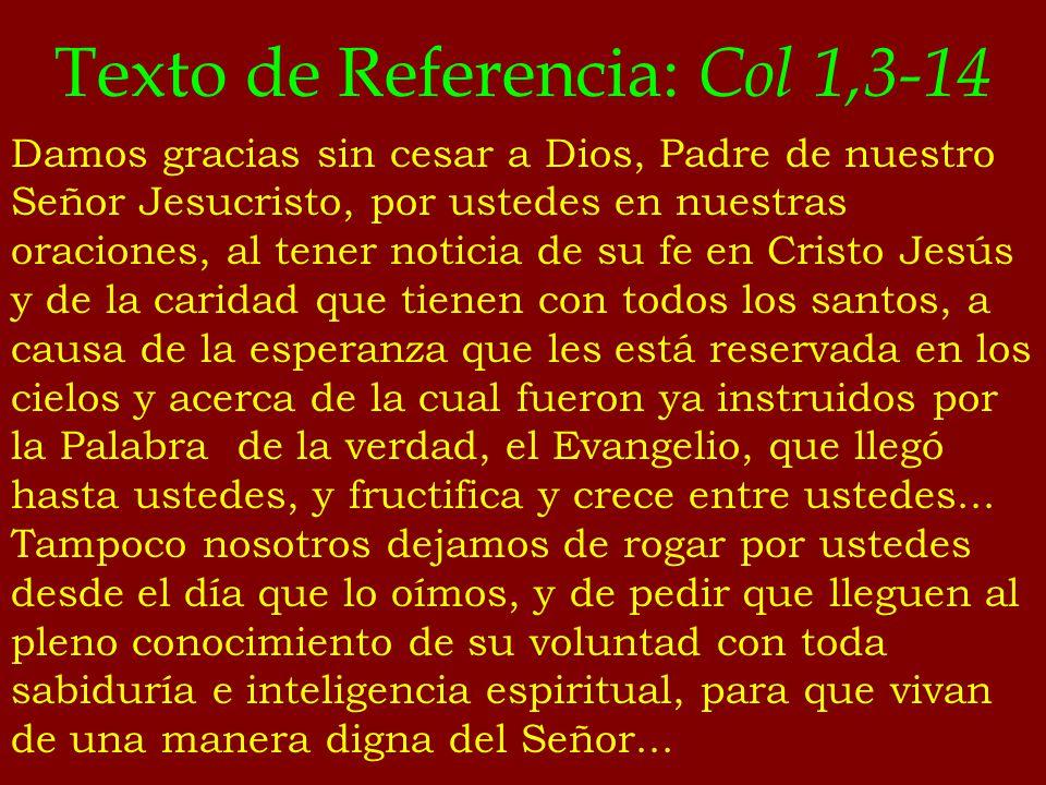 Texto de Referencia: Col 1,3-14 Damos gracias sin cesar a Dios, Padre de nuestro Señor Jesucristo, por ustedes en nuestras oraciones, al tener noticia