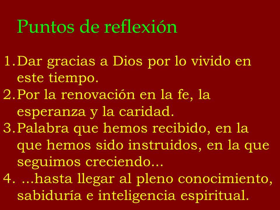 Puntos de reflexión 1.Dar gracias a Dios por lo vivido en este tiempo. 2.Por la renovación en la fe, la esperanza y la caridad. 3.Palabra que hemos re