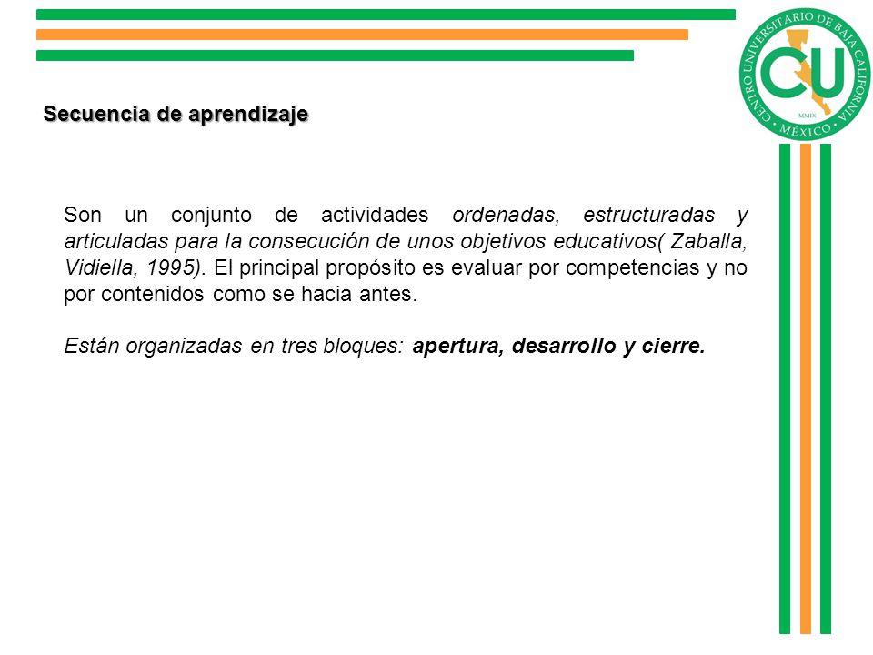 Secuencia de aprendizaje Son un conjunto de actividades ordenadas, estructuradas y articuladas para la consecución de unos objetivos educativos( Zabal
