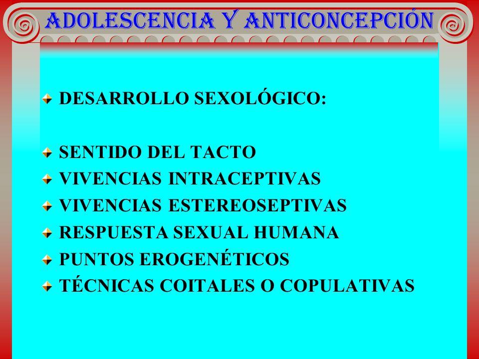 ADOLESCENCIA Y ANTICONCEPCIÓN DESARROLLO SEXOLÓGICO : SENTIDO DEL TACTO VIVENCIAS INTRACEPTIVAS VIVENCIAS ESTEREOSEPTIVAS RESPUESTA SEXUAL HUMANA PUNT