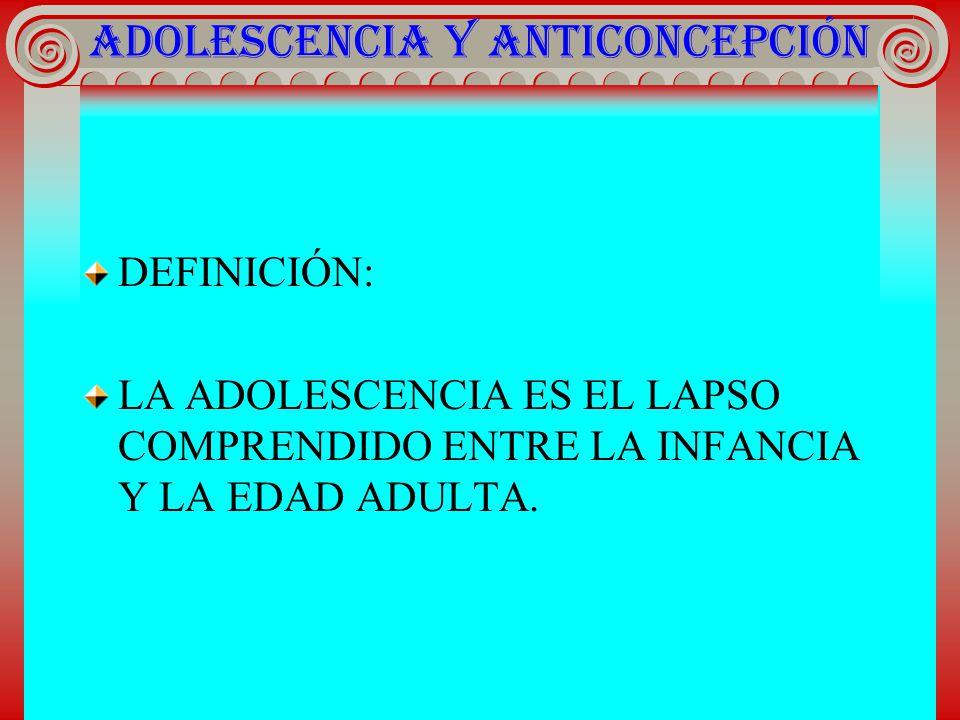 ADOLESCENCIA Y ANTICONCEPCIÓN DEFINICIÓN: LA ADOLESCENCIA ES EL LAPSO COMPRENDIDO ENTRE LA INFANCIA Y LA EDAD ADULTA.