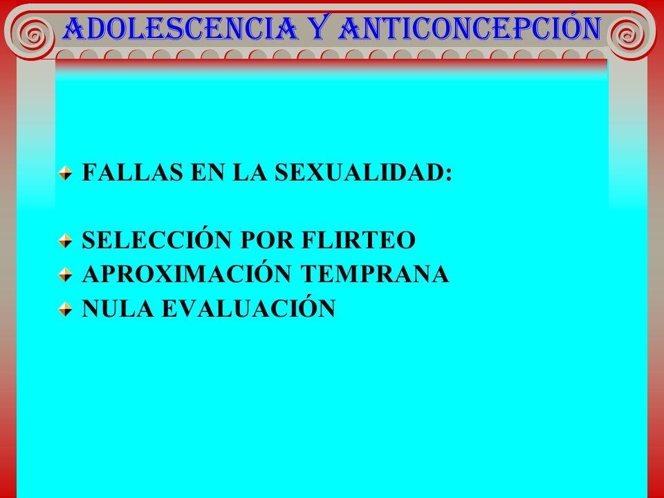 ADOLESCENCIA Y ANTICONCEPCIÓN FALLAS EN LA SEXUALIDAD: SELECCIÓN POR FLIRTEO APROXIMACIÓN TEMPRANA NULA EVALUACIÓN