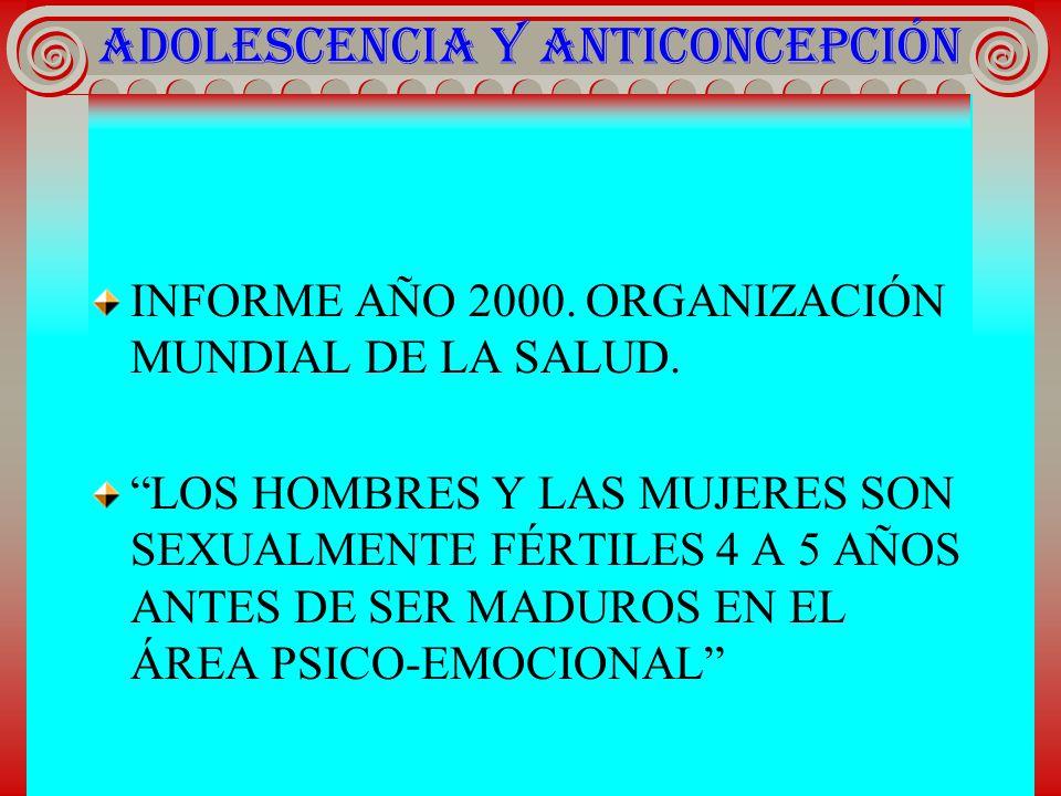 ADOLESCENCIA Y ANTICONCEPCIÓN INFORME AÑO 2000. ORGANIZACIÓN MUNDIAL DE LA SALUD. LOS HOMBRES Y LAS MUJERES SON SEXUALMENTE FÉRTILES 4 A 5 AÑOS ANTES