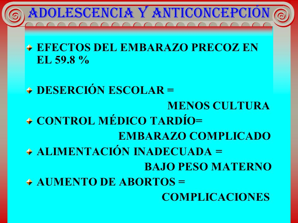ADOLESCENCIA Y ANTICONCEPCIÓN EFECTOS DEL EMBARAZO PRECOZ EN EL 59.8 % DESERCIÓN ESCOLAR = MENOS CULTURA CONTROL MÉDICO TARDÍO= EMBARAZO COMPLICADO AL