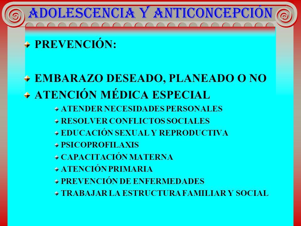 ADOLESCENCIA Y ANTICONCEPCIÓN PREVENCIÓN: EMBARAZO DESEADO, PLANEADO O NO ATENCIÓN MÉDICA ESPECIAL ATENDER NECESIDADES PERSONALES RESOLVER CONFLICTOS