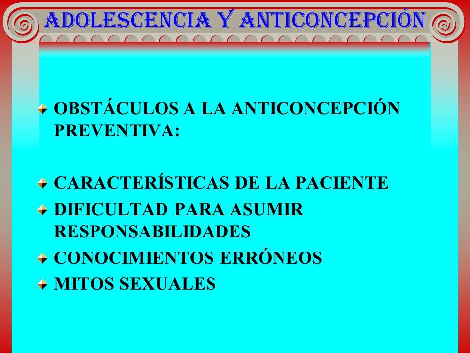 ADOLESCENCIA Y ANTICONCEPCIÓN OBSTÁCULOS A LA ANTICONCEPCIÓN PREVENTIVA: CARACTERÍSTICAS DE LA PACIENTE DIFICULTAD PARA ASUMIR RESPONSABILIDADES CONOC