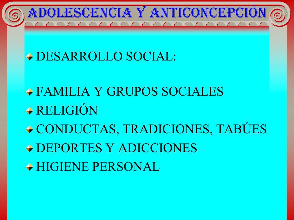 ADOLESCENCIA Y ANTICONCEPCIÓN DESARROLLO SOCIAL : FAMILIA Y GRUPOS SOCIALES RELIGIÓN CONDUCTAS, TRADICIONES, TABÚES DEPORTES Y ADICCIONES HIGIENE PERS