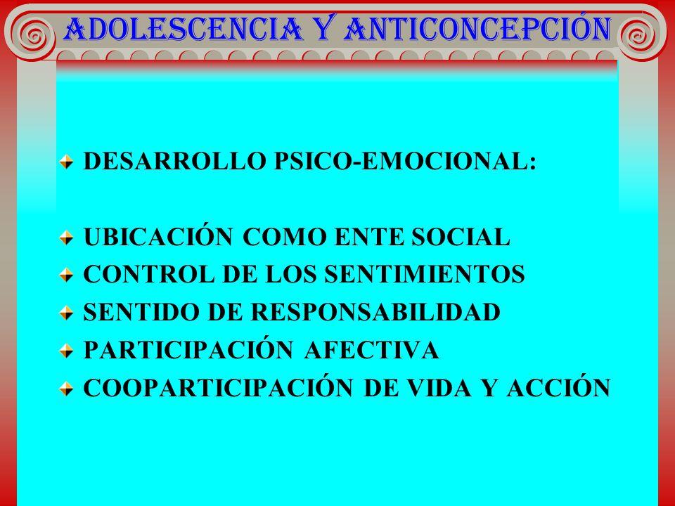 ADOLESCENCIA Y ANTICONCEPCIÓN DESARROLLO PSICO-EMOCIONAL : UBICACIÓN COMO ENTE SOCIAL CONTROL DE LOS SENTIMIENTOS SENTIDO DE RESPONSABILIDAD PARTICIPA