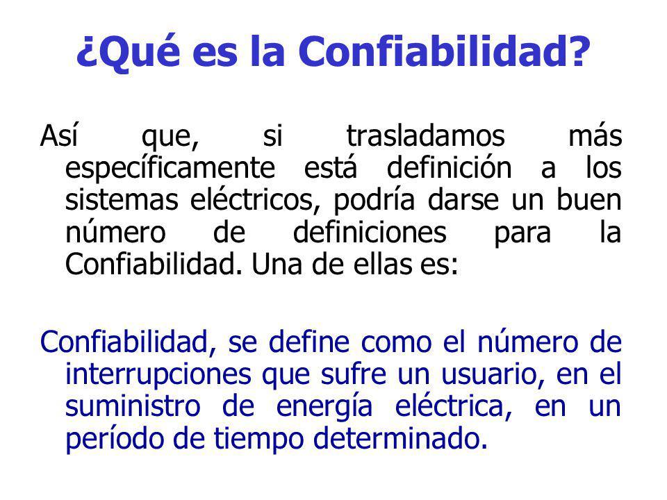 ¿Qué es la Confiabilidad? Por lo tanto, una de las definiciones de la confiabilidad es: Confiabilidad, es la probabilidad de que un elemento o sistema