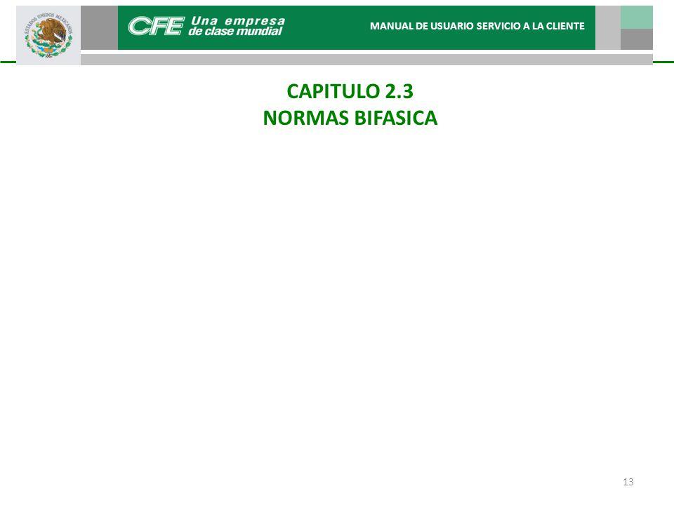 CAPITULO 2.3 NORMAS BIFASICA MANUAL DE USUARIO SERVICIO A LA CLIENTE 13