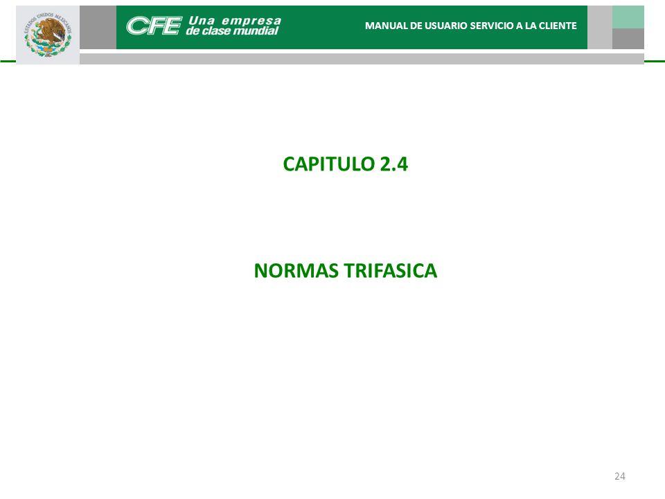 CAPITULO 2.4 NORMAS TRIFASICA MANUAL DE USUARIO SERVICIO A LA CLIENTE 24