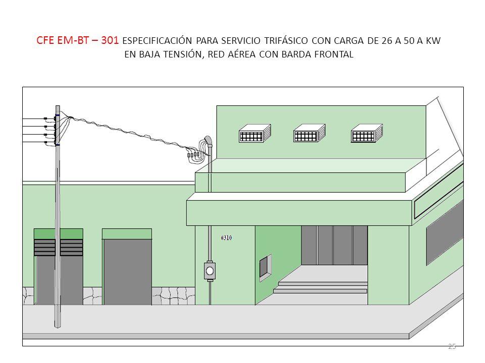 CFE EM-BT – 301 ESPECIFICACIÓN PARA SERVICIO TRIFÁSICO CON CARGA DE 26 A 50 A KW EN BAJA TENSIÓN, RED AÉREA CON BARDA FRONTAL 25