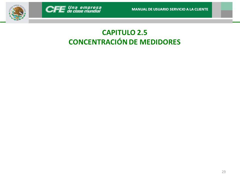 CAPITULO 2.5 CONCENTRACIÓN DE MEDIDORES MANUAL DE USUARIO SERVICIO A LA CLIENTE 29