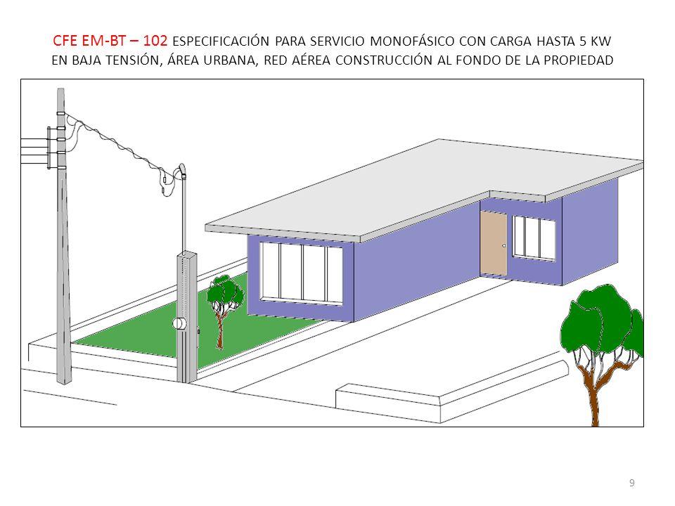 CFE EM-BT – 102 ESPECIFICACIÓN PARA SERVICIO MONOFÁSICO CON CARGA HASTA 5 KW EN BAJA TENSIÓN, ÁREA URBANA, RED AÉREA CONSTRUCCIÓN AL FONDO DE LA PROPIEDAD 9