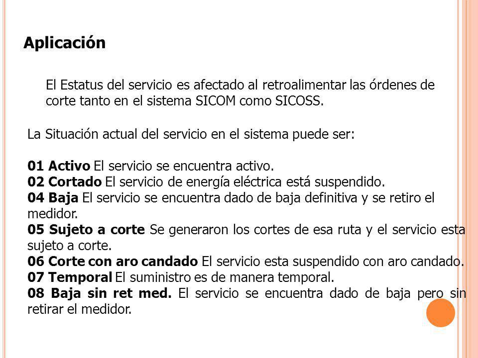 El Estatus del servicio es afectado al retroalimentar las órdenes de corte tanto en el sistema SICOM como SICOSS. Aplicación La Situación actual del s