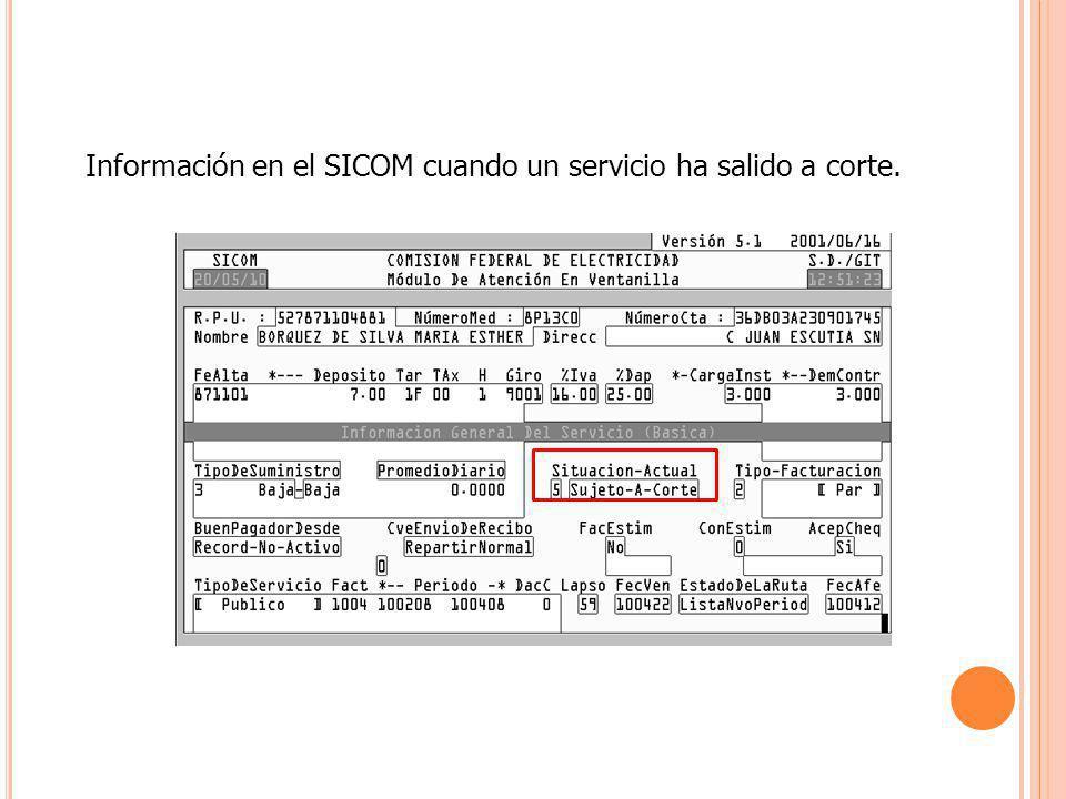 Información en el SICOM cuando un servicio ha salido a corte.