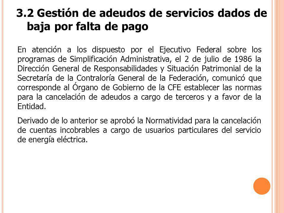 3.2 Gestión de adeudos de servicios dados de baja por falta de pago En atención a los dispuesto por el Ejecutivo Federal sobre los programas de Simpli