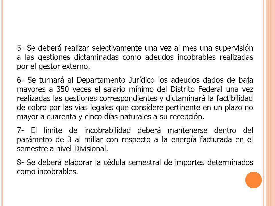 5- Se deberá realizar selectivamente una vez al mes una supervisión a las gestiones dictaminadas como adeudos incobrables realizadas por el gestor ext