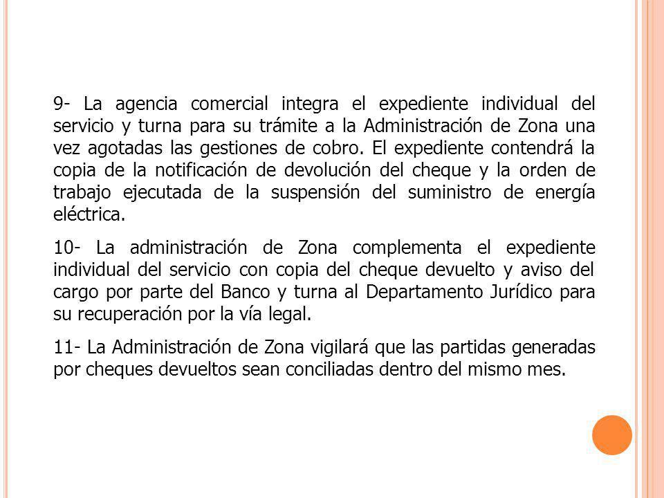 9- La agencia comercial integra el expediente individual del servicio y turna para su trámite a la Administración de Zona una vez agotadas las gestion