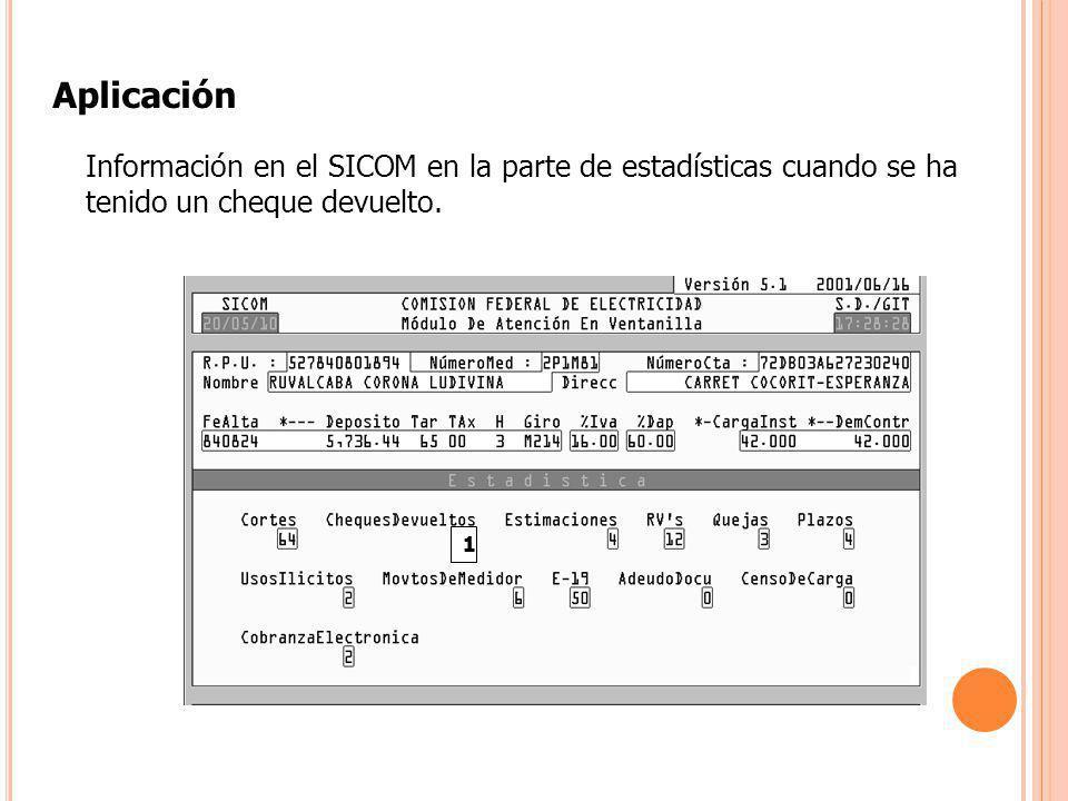 1 Información en el SICOM en la parte de estadísticas cuando se ha tenido un cheque devuelto. Aplicación