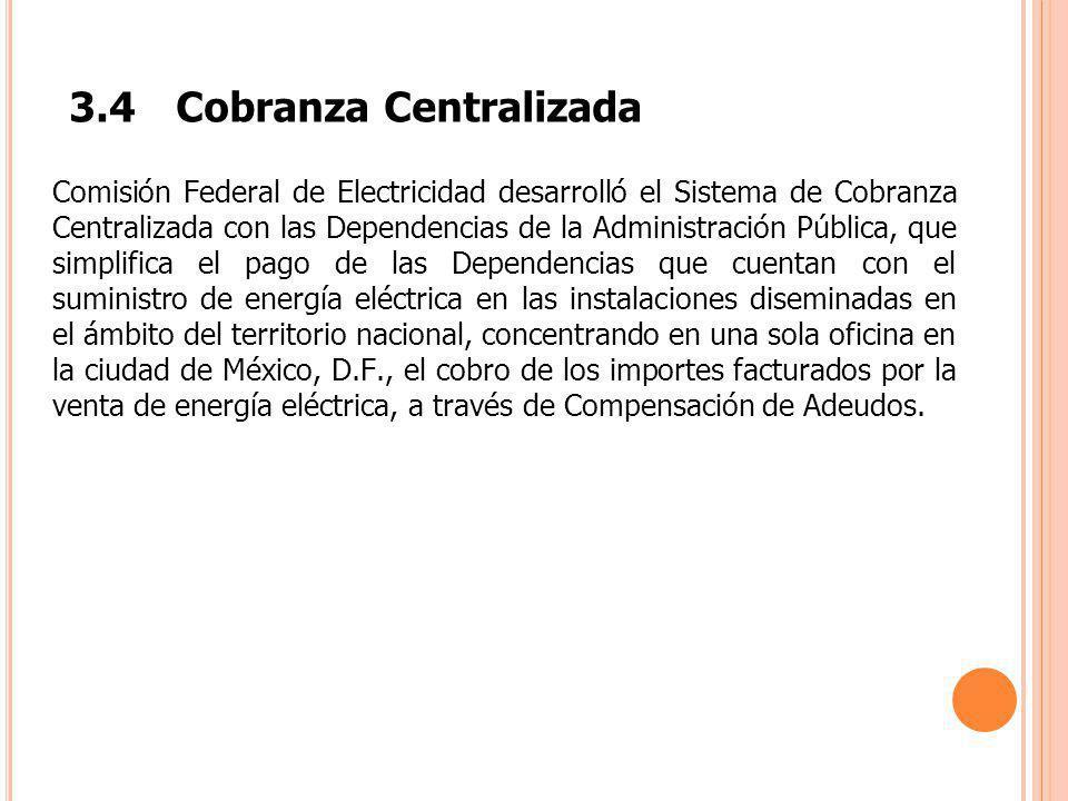 3.4Cobranza Centralizada Comisión Federal de Electricidad desarrolló el Sistema de Cobranza Centralizada con las Dependencias de la Administración Púb