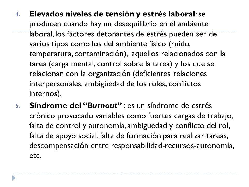 4. Elevados niveles de tensión y estrés laboral: se producen cuando hay un desequilibrio en el ambiente laboral, los factores detonantes de estrés pue