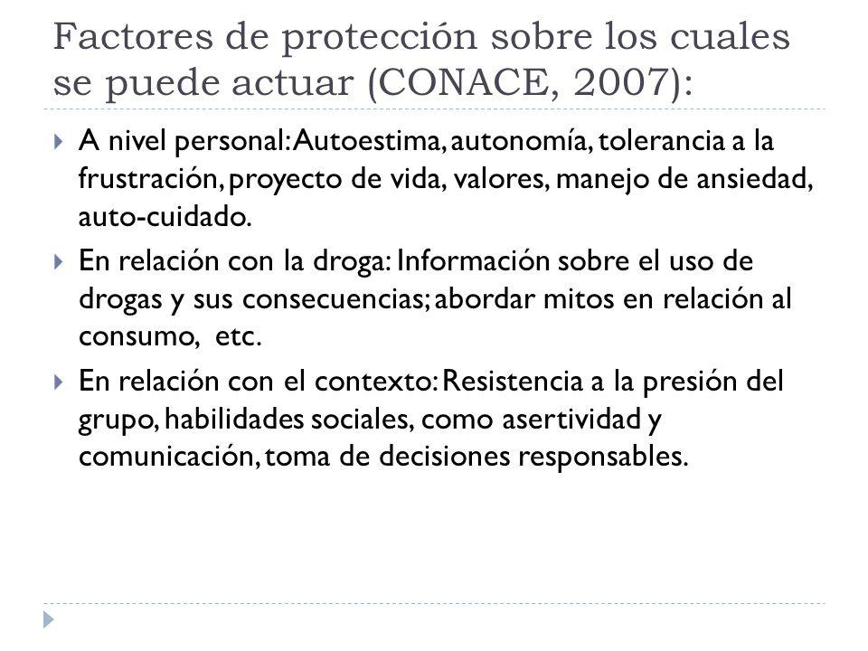 Factores de protección sobre los cuales se puede actuar (CONACE, 2007): A nivel personal: Autoestima, autonomía, tolerancia a la frustración, proyecto