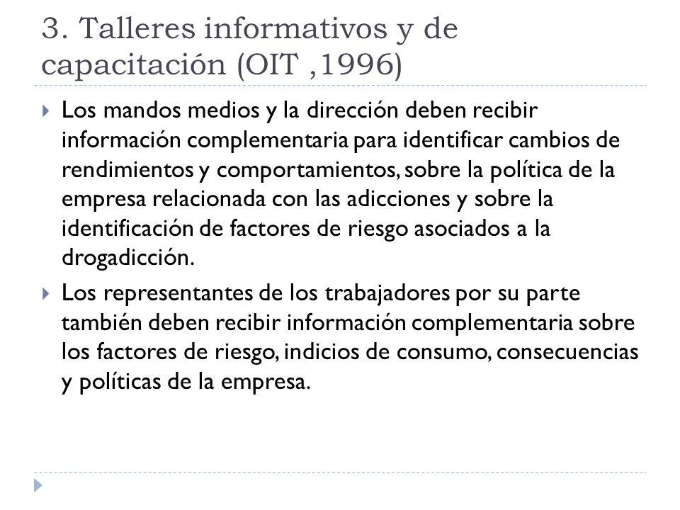 Los mandos medios y la dirección deben recibir información complementaria para identificar cambios de rendimientos y comportamientos, sobre la polític